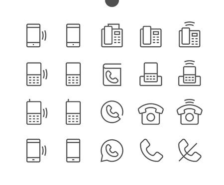 폰 UI 픽셀 완벽하게 잘 만들어진 벡터 얇은 선 아이콘 48x48 웹 그래픽 및 편집 가능한 스트로크가있는 애플리케이션 용 24x24 격자 준비. 간단한 최소 그