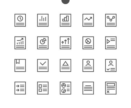 Rapport UI Pixel Perfect Goed gemaakte Vector Dunne lijnpictogrammen 48x48 Klaar voor 24x24 raster voor webafbeeldingen en apps met bewerkbare beroerte. Eenvoudig minimaal pictogram