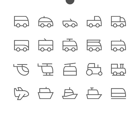 Transport Side View Outlined Pixel Perfect Well-crafted Vector Thin Line Icons 48x48 Ready for 24x24 Grid for Web Graphics and Apps with Editable Stroke. Simple Minimal Pictogram