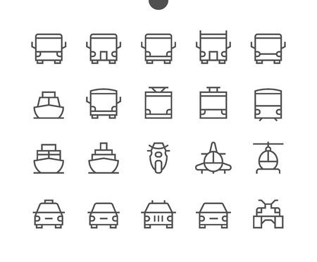 Transport Widok z przodu Konturowane piksele Idealne Dobrze wykonane cienkie ikony wektorowe 48x48 Gotowy do siatki 24x24 dla grafiki internetowej i aplikacji z edytowalnym obrysem. Prosty minimalny piktogram