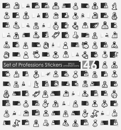 Set of professions stickers 向量圖像