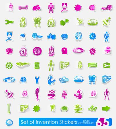 Set of invention stickers Ilustração