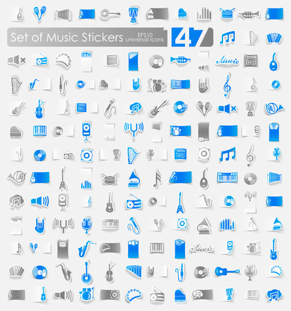 Set of music stickers