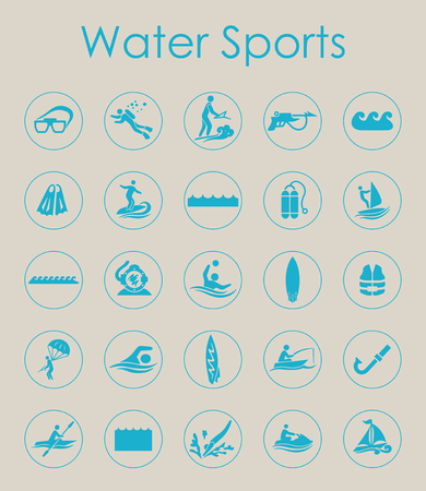 Set of water sports simple icons Çizim