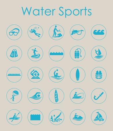 Set van watersporten eenvoudige pictogrammen