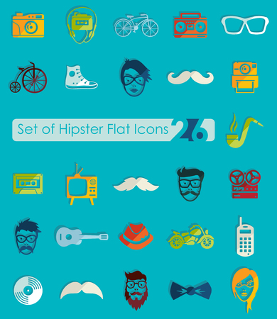 Set of hipster icons Illustration