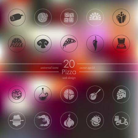Set van pizza iconen Stock Illustratie