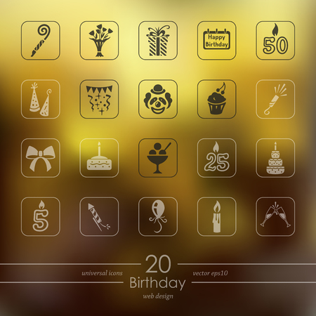 Set of birthday icons Illustration