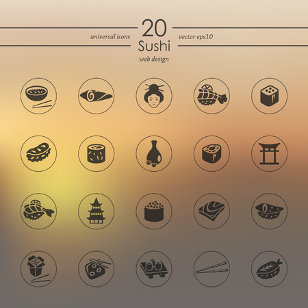 Set of sushi icons Illustration