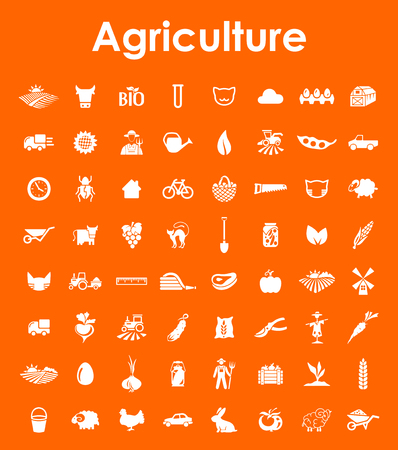 Set of agriculture simple icons Çizim