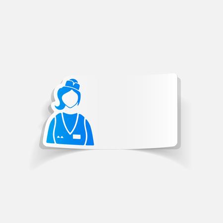 realistic design element. saleswoman Illusztráció