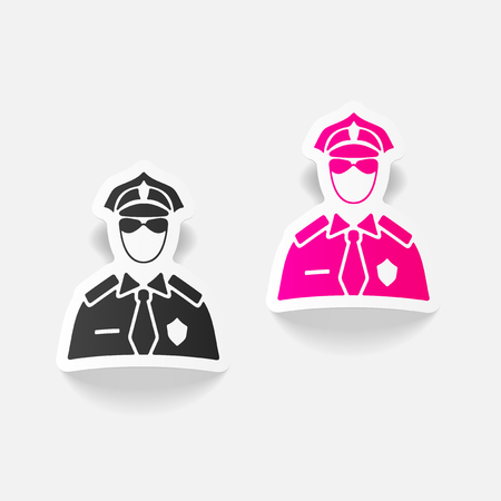 competence: realistic design element. police officer Illustration