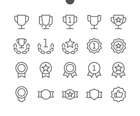 수상 경력 UI 픽셀 완벽하게 잘 만들어진 벡터 얇은 선 아이콘 48x48 편집 가능한 획이있는 웹 그래픽 및 응용 프로그램 용 24x24 격자 준비. 간단한 최소 그림 스톡 콘텐츠 - 91175059