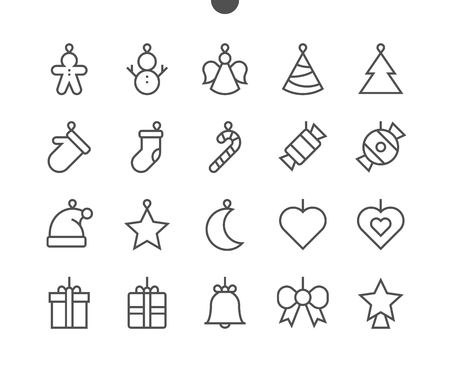 Toys on the Christmas tree UI Pixel Perfect Well-crafted Vector Thin Line Icons 48x48 Ready for 24x24 Grid for Web Graphics and Apps with Editable Stroke. Simple Minimal Pictogram Ilustração