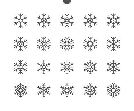 Flocons de neige UI Pixel Icônes de fine ligne vectorielles parfaitement conçues 48x48, prêtes pour une grille 24x24 pour les applications Web avec graphisme et contour modifiables. Pictogramme Minimal Simple