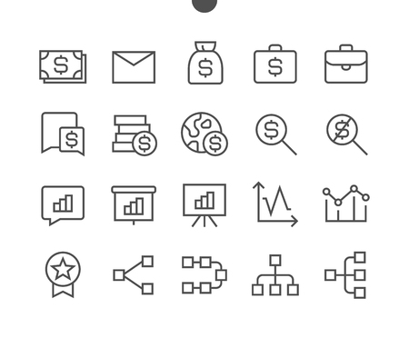 Business UI Pixel Perfect Well-crafted Vector Thin Line Icons 48x48 Ready for 24x24 Grid for Web Graphics and Apps with Editable Stroke. Simple Minimal Pictogram