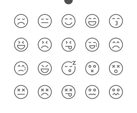 Emotions UI Pixel Icônes de fine ligne vectorielles parfaitement conçues 48x48, prêtes pour une grille 24x24 pour les applications Web avec graphisme et contour modifiables. Pictogramme Minimal Simple Partie 2-5