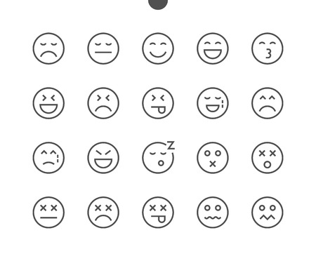 Emotions UI Pixel Perfect Well-crafted Vector Thin Line Icons 48x48 Ready for 24x24 Grid for Web Graphics and Apps with Editable Stroke. Simple Minimal Pictogram Part 2-5 Stock Vector - 91115125