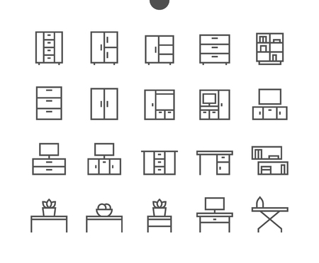 Furniture pixel perfect, well-crafted. Vector thin line icons. Grid for web graphics and apps with editable stroke. Simple minimal pictogram.