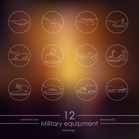 Set of military equipment icons, vector  illustration.