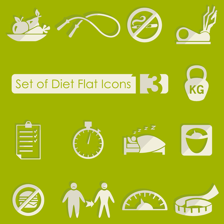 Set of diet icons on greem background, vector illustration. Illustration