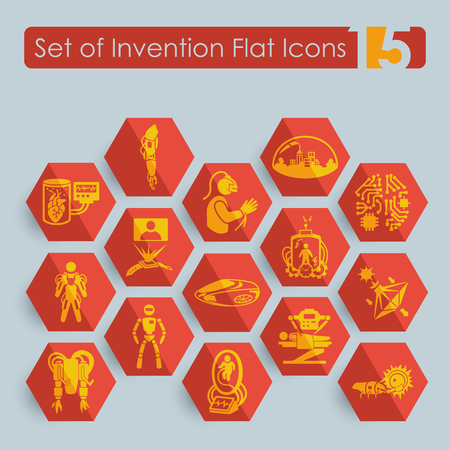 Set of invention icons on gray background, vector illustration.
