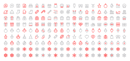 Merry Christmas Pixel Perfect Big Set 180 icons Well-crafted Vector Thin Line Icons 48x48 Ready for 24x24 Grid for Web Graphics and Apps. Simple Minimal Pictogram