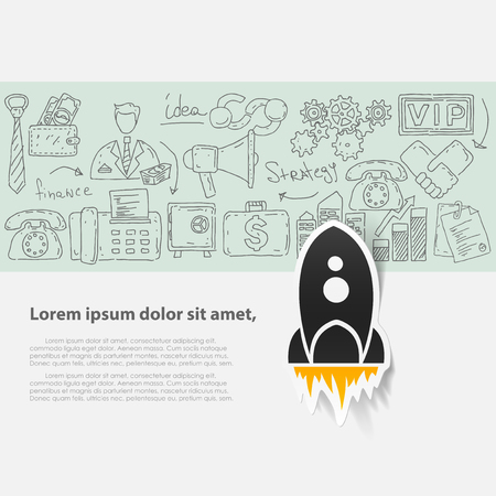 Vector template with hand drawn doodles business icons.