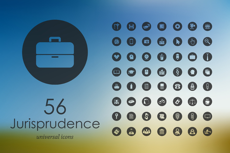 jurisprudence modern icons for mobile interface on blurred background Иллюстрация
