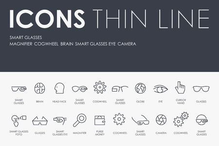 SMART GLASSES Thin Line Icons