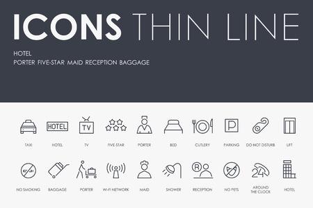 HOTEL Thin Line Icons 일러스트
