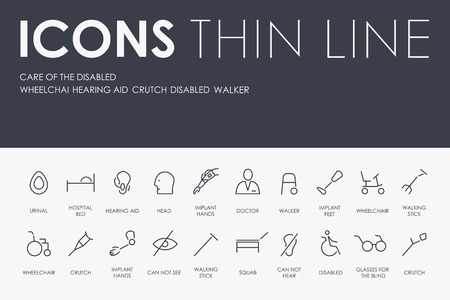 Conjunto de cuidados de ícones de vetor de linha fina com deficiência e pictogramas. Foto de archivo - 94399677
