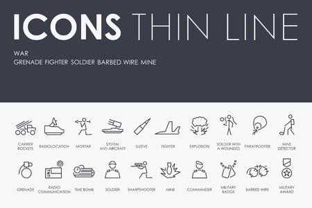 Set von Krieg dünne Linie Vektor-Icons und Piktogramme Standard-Bild - 94399674