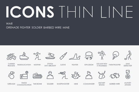 Set of WAR Thin Line Vector Icons and Pictograms.