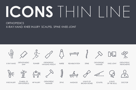 Set of ORTHOPEDICS Thin Line Vector Icons and Pictograms.
