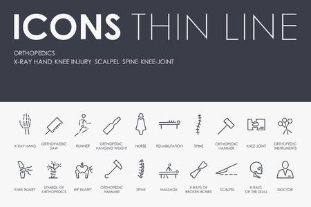 Set van ORTHOPEDIEKEN Dunne lijn Vector iconen en pictogrammen.