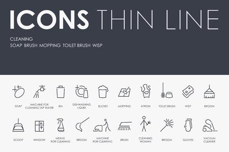 Set van het reinigen van dunne lijn Vector iconen en pictogrammen.