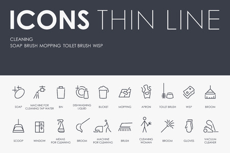 Set of CLEANING Thin Line Vector Icons and Pictograms. Illustration