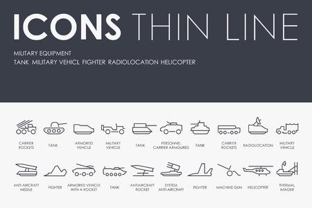 Set van militaire apparatuur dunne lijn Vector iconen en pictogrammen. Stock Illustratie