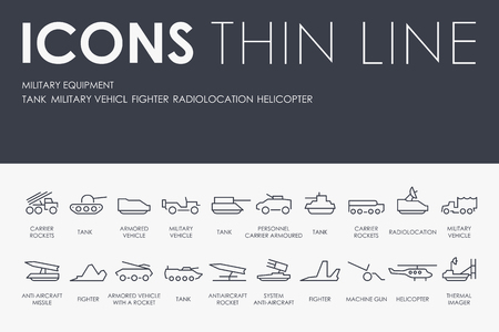 Set of MILITARY EQUIPMENT Thin Line Vector Icons and Pictograms.