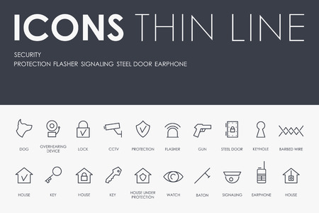 Set of SECURITY Thin Line Vector Icons and Pictograms. Ilustração