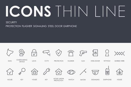 Set van veiligheid dunne lijn Vector iconen en pictogrammen.