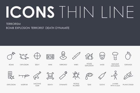 Set of TERRORISM Thin Line Vector Icons and Pictograms. Ilustração