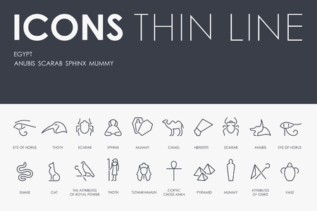 Egypt Thin Line Icons