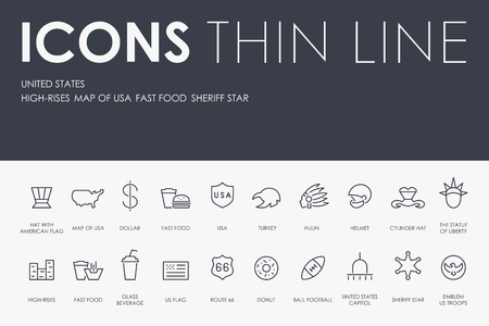 Set of UNITED STATES Thin Line Vector Icons and Pictograms. Illustration