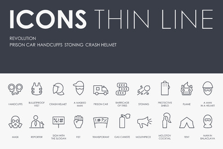 Set of REVOLUTION Thin Line Vector Icons and Pictograms.