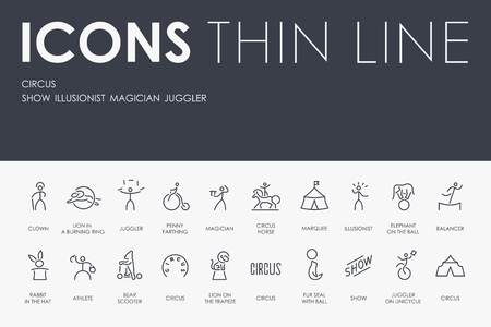 Set of CIRCUS Thin Line Vector Icons and Pictograms