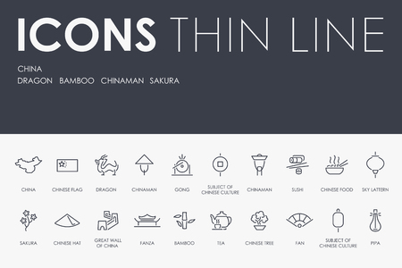 Set of CHINA Thin Line Vector Icons and Pictograms