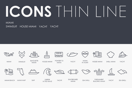 MIAMI Thin Line Icons