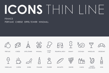 Set of FRANCE Thin Line Vector Icons and Pictograms Illustration